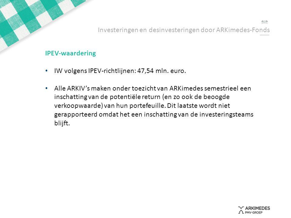 IPEV-waardering • IW volgens IPEV-richtlijnen: 47,54 mln. euro. • Alle ARKIV's maken onder toezicht van ARKimedes semestrieel een inschatting van de p