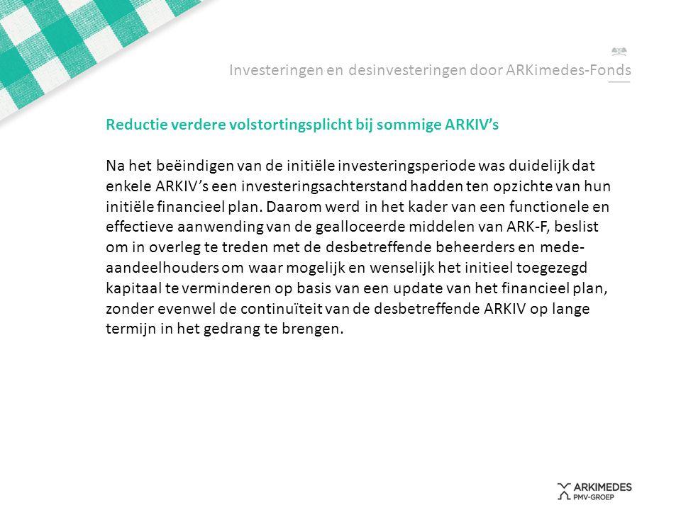 Investeringen en desinvesteringen door ARKimedes-Fonds Reductie verdere volstortingsplicht bij sommige ARKIV's Na het beëindigen van de initiële inves