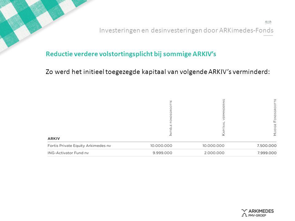 Investeringen en desinvesteringen door ARKimedes-Fonds Reductie verdere volstortingsplicht bij sommige ARKIV's Zo werd het initieel toegezegde kapitaa