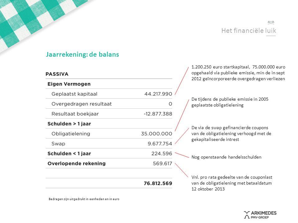 Het financiële luik Jaarrekening: de balans Bedragen zijn uitgedrukt in eenheden en in euro 1.200.250 euro startkapitaal, 75.000.000 euro opgehaald vi