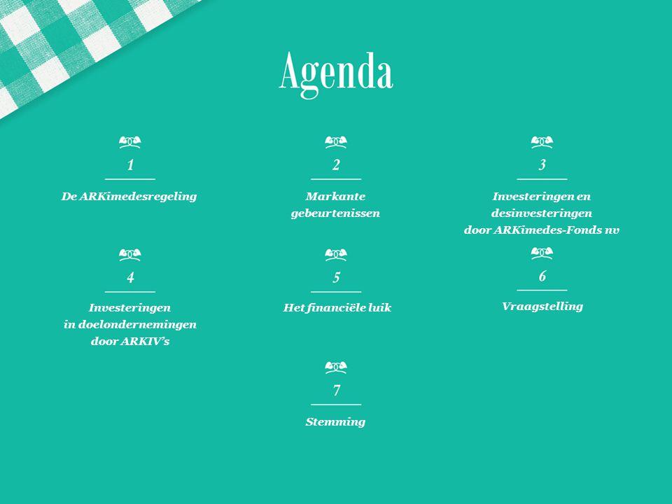 De ARKimedesregelingMarkante gebeurtenissen Investeringen en desinvesteringen door ARKimedes-Fonds nv Investeringen in doelondernemingen door ARKIV's