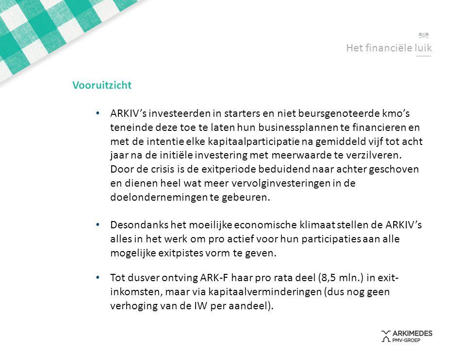 Het financiële luik Vooruitzicht • ARKIV's investeerden in starters en niet beursgenoteerde kmo's teneinde deze toe te laten hun businessplannen te fi