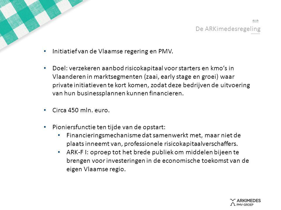 • Initiatief van de Vlaamse regering en PMV. • Doel: verzekeren aanbod risicokapitaal voor starters en kmo's in Vlaanderen in marktsegmenten (zaai, ea