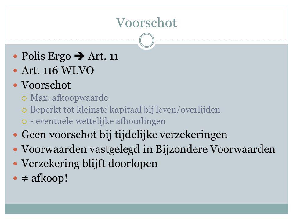  Polis Ergo  Art.11  Art. 116 WLVO  Voorschot  Max.