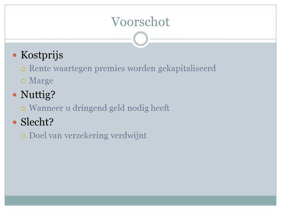 Voorschot  Kostprijs  Rente waartegen premies worden gekapitaliseerd  Marge  Nuttig.