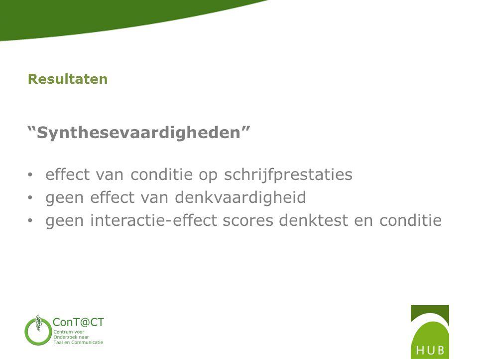Resultaten Synthesevaardigheden • effect van conditie op schrijfprestaties • geen effect van denkvaardigheid • geen interactie-effect scores denktest en conditie