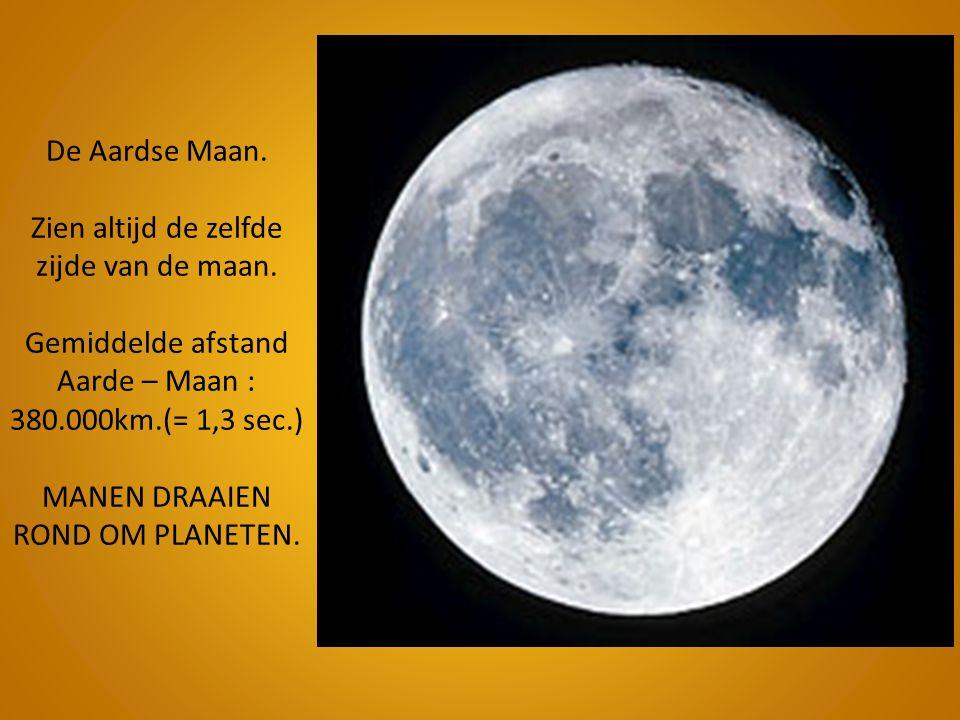 De Aardse Maan. Zien altijd de zelfde zijde van de maan. Gemiddelde afstand Aarde – Maan : 380.000km.(= 1,3 sec.) MANEN DRAAIEN ROND OM PLANETEN.