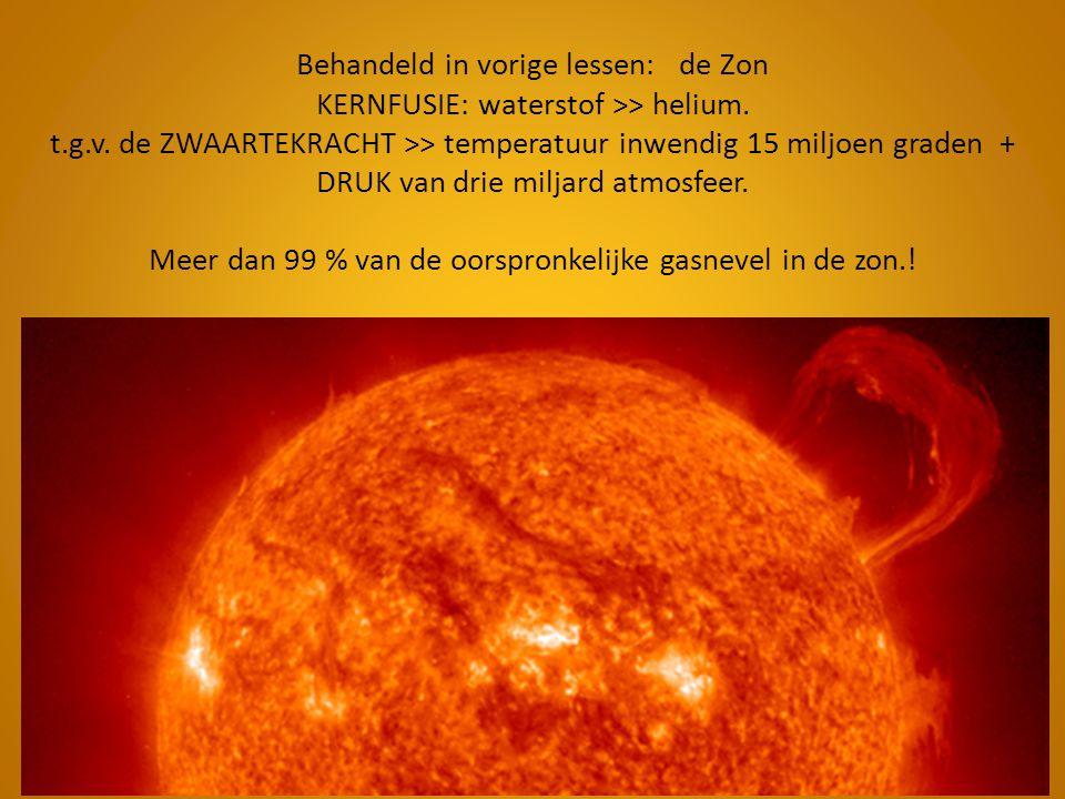 Behandeld in vorige lessen: de Zon KERNFUSIE: waterstof >> helium. t.g.v. de ZWAARTEKRACHT >> temperatuur inwendig 15 miljoen graden + DRUK van drie m
