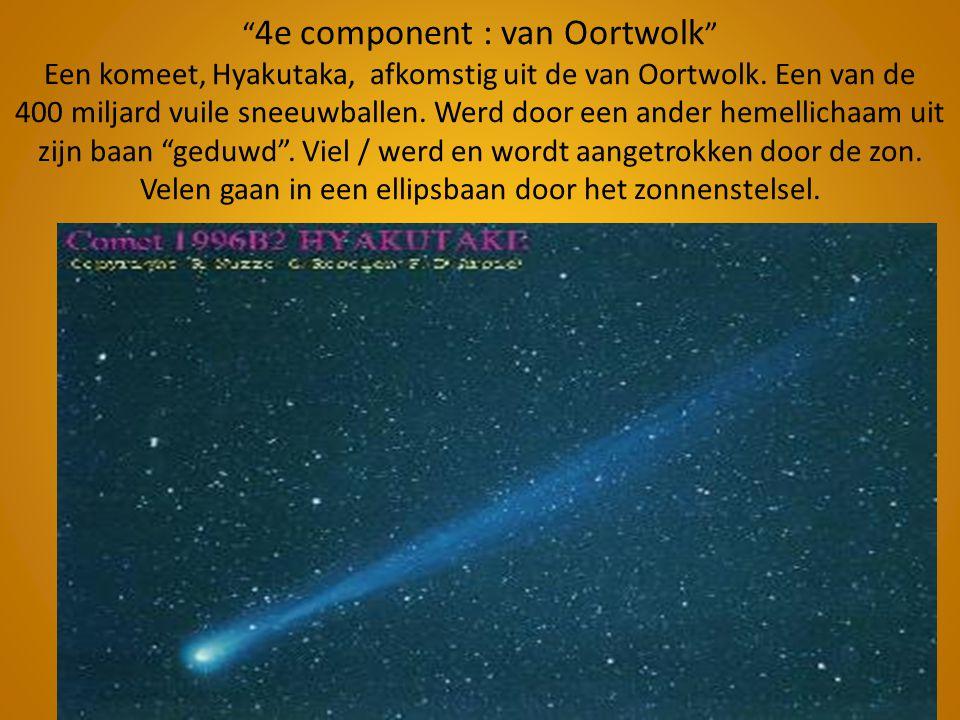 """"""" 4e component : van Oortwolk """" Een komeet, Hyakutaka, afkomstig uit de van Oortwolk. Een van de 400 miljard vuile sneeuwballen. Werd door een ander h"""