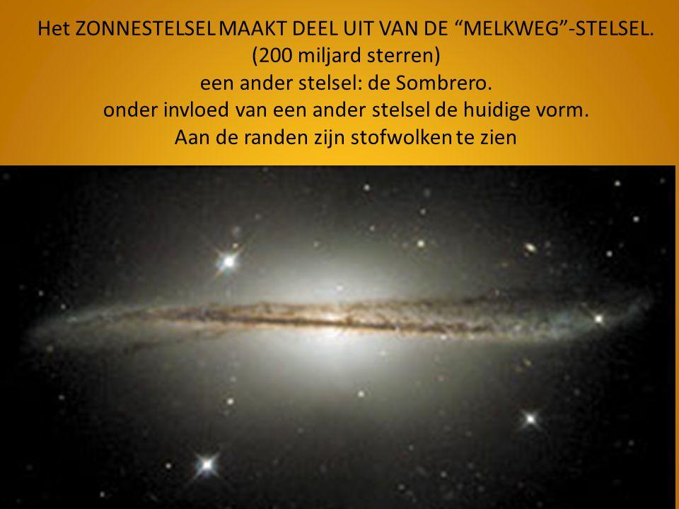 """Het ZONNESTELSEL MAAKT DEEL UIT VAN DE """"MELKWEG""""-STELSEL. (200 miljard sterren) een ander stelsel: de Sombrero. onder invloed van een ander stelsel de"""