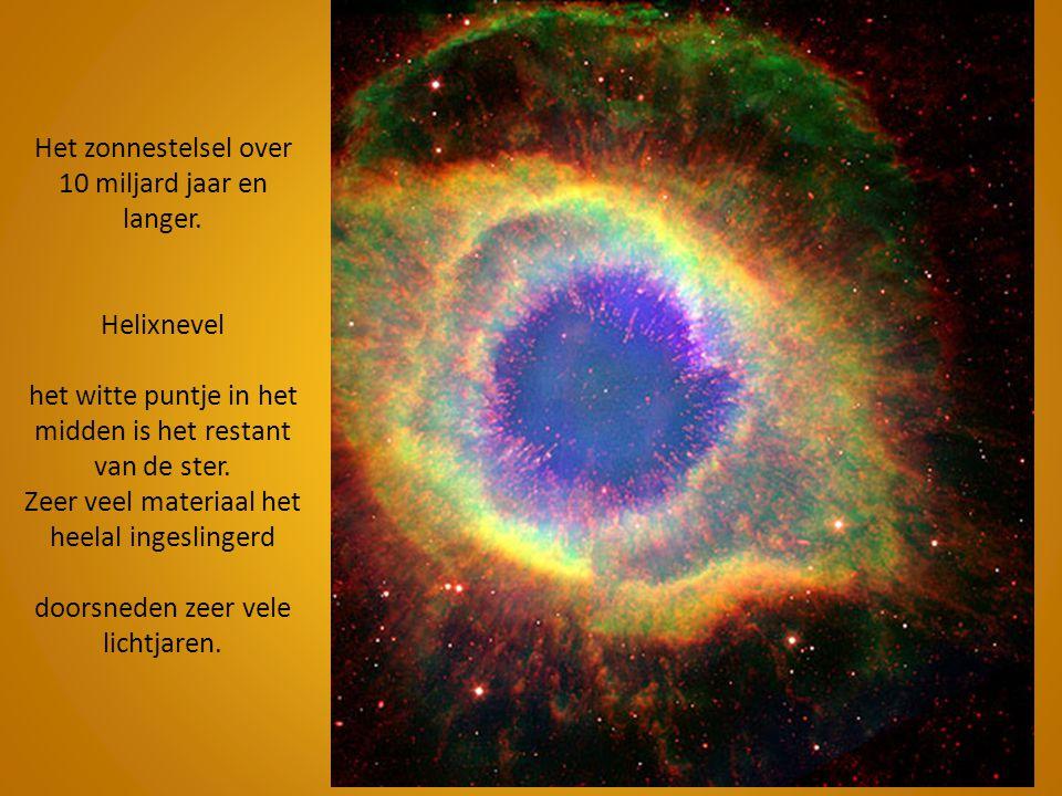 Het zonnestelsel over 10 miljard jaar en langer. Helixnevel het witte puntje in het midden is het restant van de ster. Zeer veel materiaal het heelal