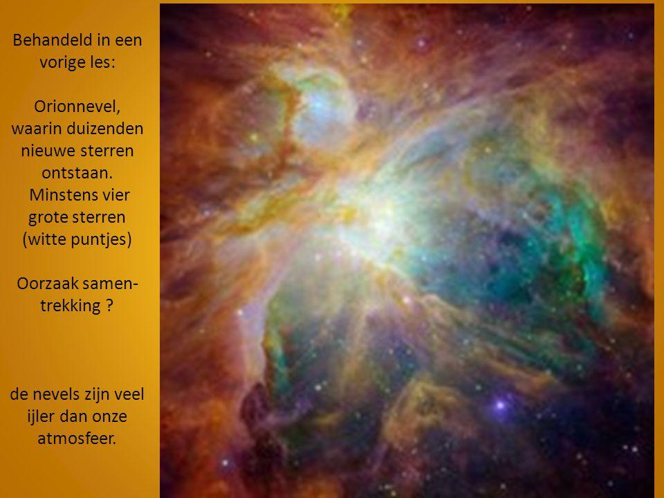 Behandeld in een vorige les: Orionnevel, waarin duizenden nieuwe sterren ontstaan. Minstens vier grote sterren (witte puntjes) Oorzaak samen- trekking