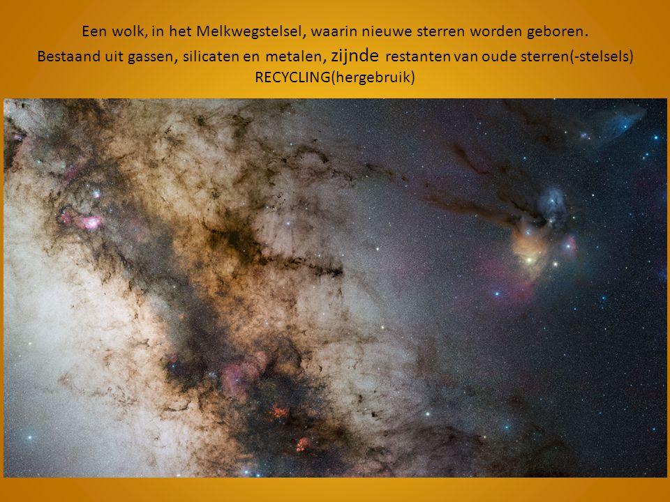 Een wolk, in het Melkwegstelsel, waarin nieuwe sterren worden geboren. Bestaand uit gassen, silicaten en metalen, zijnde restanten van oude sterren(-s
