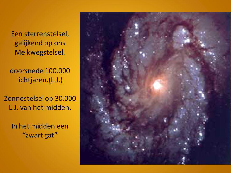 Een sterrenstelsel, gelijkend op ons Melkwegstelsel. doorsnede 100.000 lichtjaren.(L.J.) Zonnestelsel op 30.000 L.J. van het midden. In het midden een