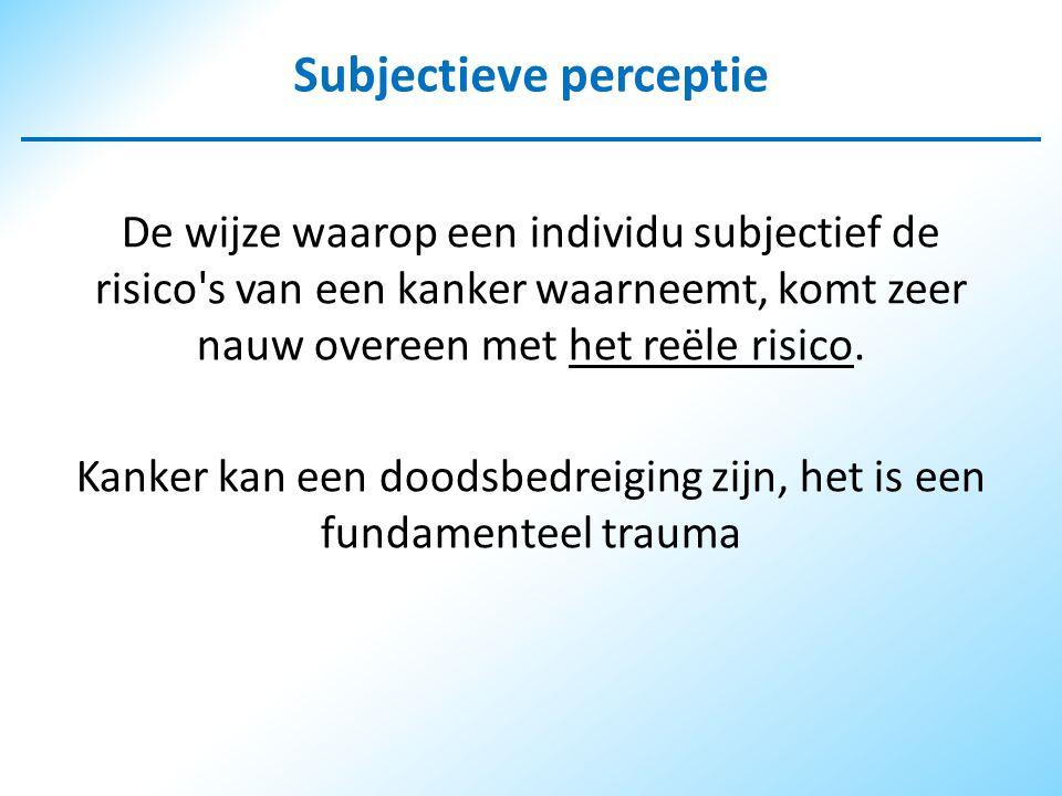 Subjectieve perceptie De wijze waarop een individu subjectief de risico s van een kanker waarneemt, komt zeer nauw overeen met het reële risico.