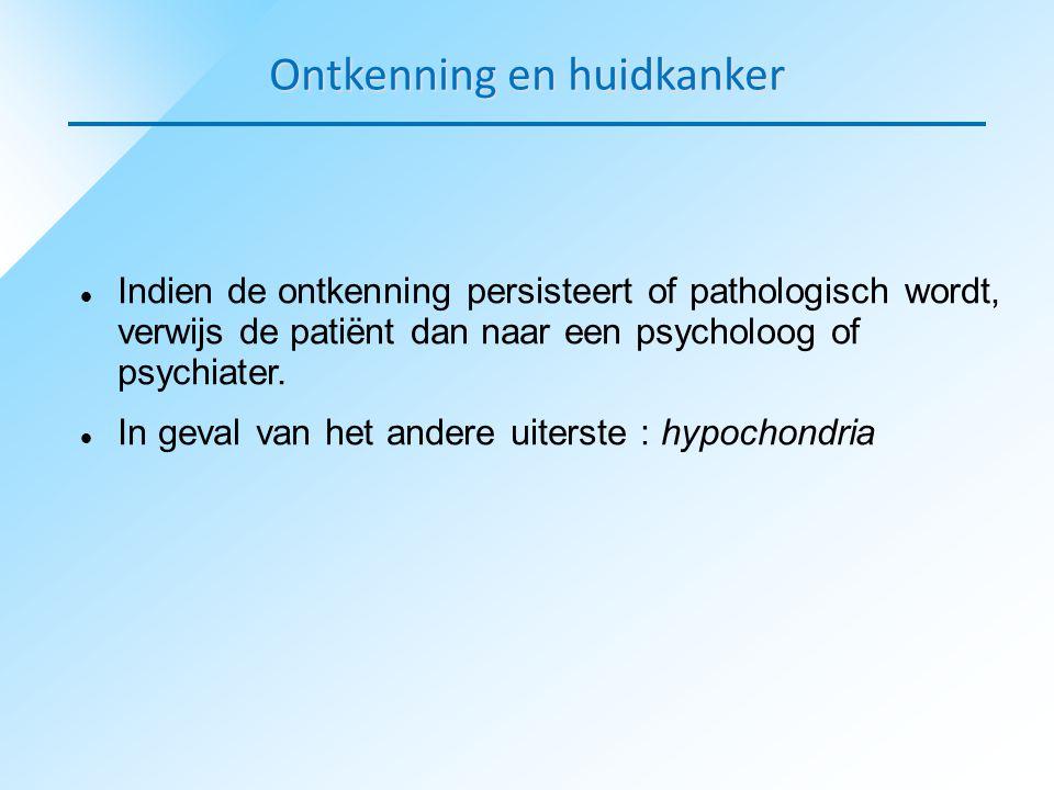  Indien de ontkenning persisteert of pathologisch wordt, verwijs de patiënt dan naar een psycholoog of psychiater.