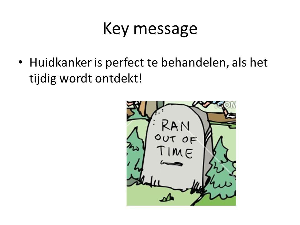 Key message • Huidkanker is perfect te behandelen, als het tijdig wordt ontdekt!
