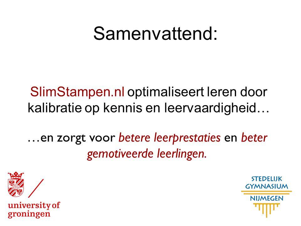 SlimStampen.nl optimaliseert leren door kalibratie op kennis en leervaardigheid… Samenvattend: …en zorgt voor betere leerprestaties en beter gemotivee
