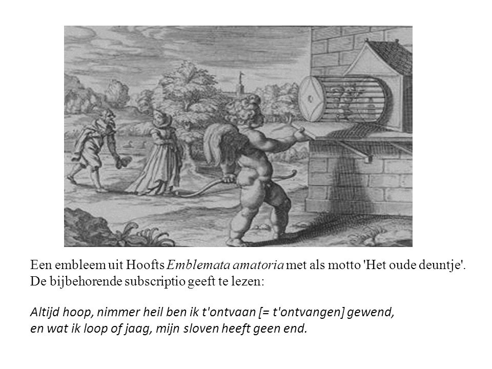 Motto, pictura en subscriptio •Een embleem bestaat uit drie karakteristieke onderdelen: motto [=opschrift] •pictura, meervoud picturae [=afbeelding] •subscriptio [=onderschrift] •Het motto kon boven of onder de pictura staan, en soms zie je het ook wel om de afbeelding heengedrapeerd.