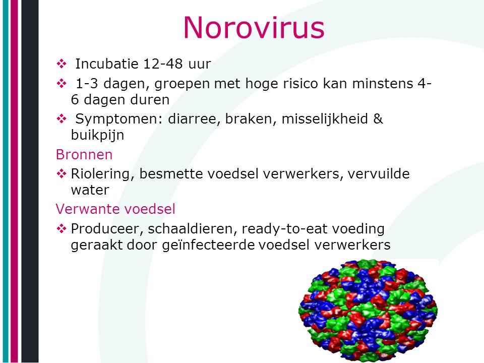 Norovirus  Incubatie 12-48 uur  1-3 dagen, groepen met hoge risico kan minstens 4- 6 dagen duren  Symptomen: diarree, braken, misselijkheid & buikp