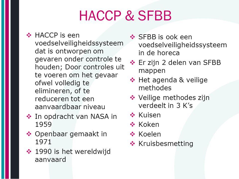 HACCP & SFBB  HACCP is een voedselveiligheidssysteem dat is ontworpen om gevaren onder controle te houden; Door controles uit te voeren om het gevaar