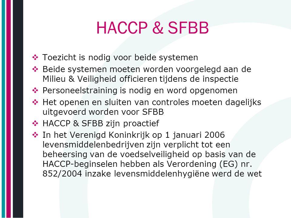 HACCP & SFBB  Toezicht is nodig voor beide systemen  Beide systemen moeten worden voorgelegd aan de Milieu & Veiligheid officieren tijdens de inspec