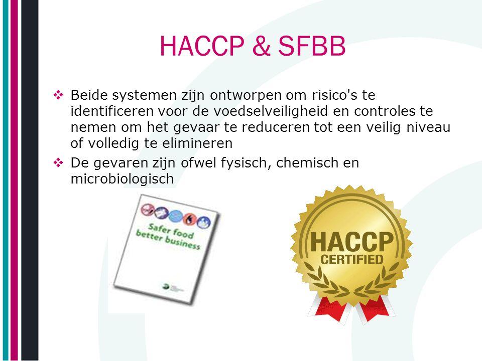 HACCP & SFBB  Beide systemen zijn ontworpen om risico's te identificeren voor de voedselveiligheid en controles te nemen om het gevaar te reduceren t