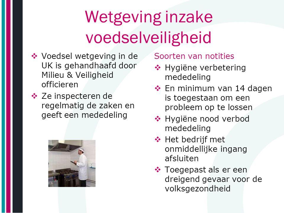 Wetgeving inzake voedselveiligheid  Voedsel wetgeving in de UK is gehandhaafd door Milieu & Veiligheid officieren  Ze inspecteren de regelmatig de z