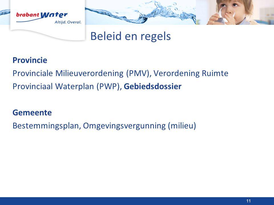 Beleid en regels Provincie Provinciale Milieuverordening (PMV), Verordening Ruimte Provinciaal Waterplan (PWP), Gebiedsdossier Gemeente Bestemmingsplan, Omgevingsvergunning (milieu) 11