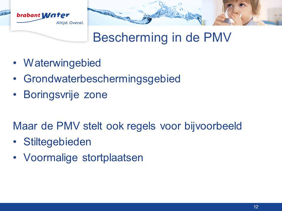 Bescherming in de PMV •Waterwingebied •Grondwaterbeschermingsgebied •Boringsvrije zone Maar de PMV stelt ook regels voor bijvoorbeeld •Stiltegebieden •Voormalige stortplaatsen 12