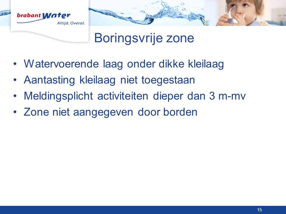 Boringsvrije zone •Watervoerende laag onder dikke kleilaag •Aantasting kleilaag niet toegestaan •Meldingsplicht activiteiten dieper dan 3 m-mv •Zone niet aangegeven door borden 15