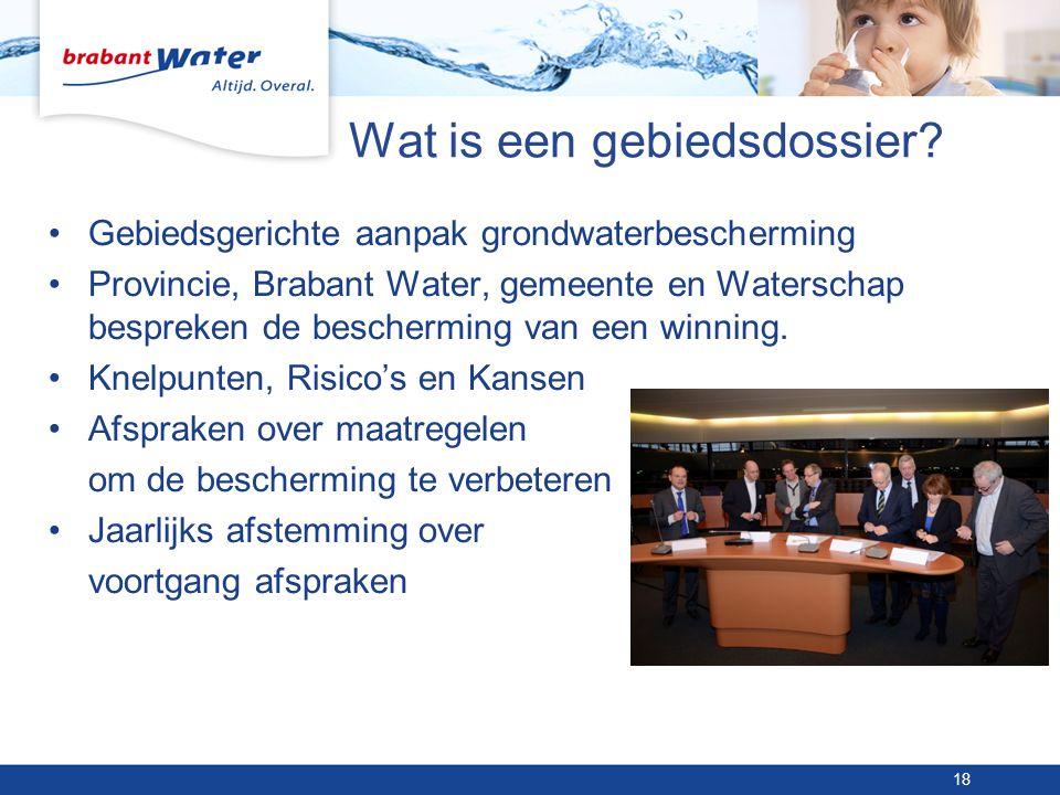 Wat is een gebiedsdossier? •Gebiedsgerichte aanpak grondwaterbescherming •Provincie, Brabant Water, gemeente en Waterschap bespreken de bescherming va