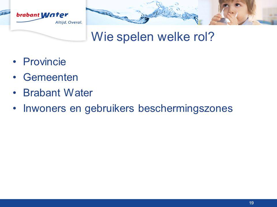 Wie spelen welke rol? •Provincie •Gemeenten •Brabant Water •Inwoners en gebruikers beschermingszones 19