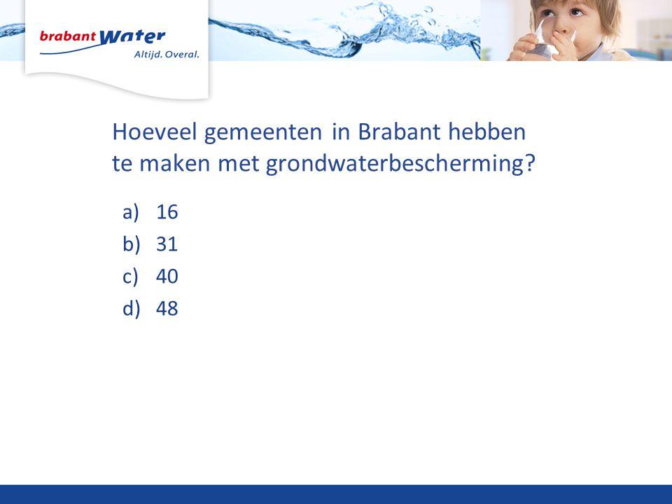 Hoeveel gemeenten in Brabant hebben te maken met grondwaterbescherming? a)16 b)31 c)40 d)48