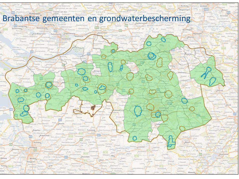 •Nog invoegen, kaart waarop duidelijk te zien is hoeveel gemeenten in Brabant (en waar ze liggen) te maken hebben met grondwaterbescherming Brabantse