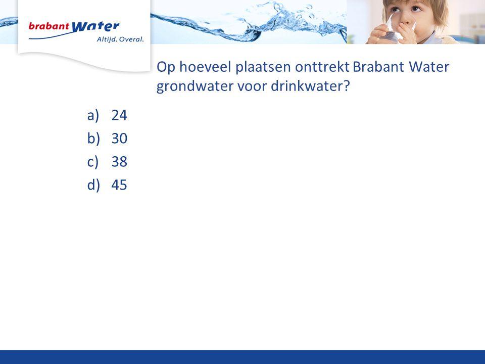 Op hoeveel plaatsen onttrekt Brabant Water grondwater voor drinkwater? a)24 b)30 c)38 d)45