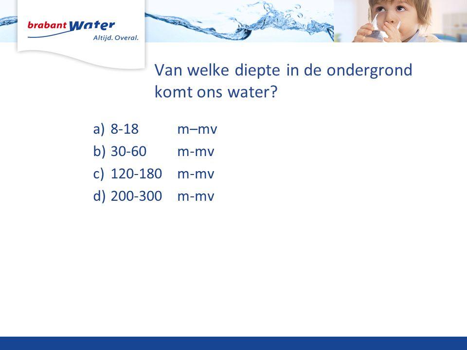 Van welke diepte in de ondergrond komt ons water? a)8-18 m–mv b)30-60 m-mv c)120-180 m-mv d)200-300 m-mv