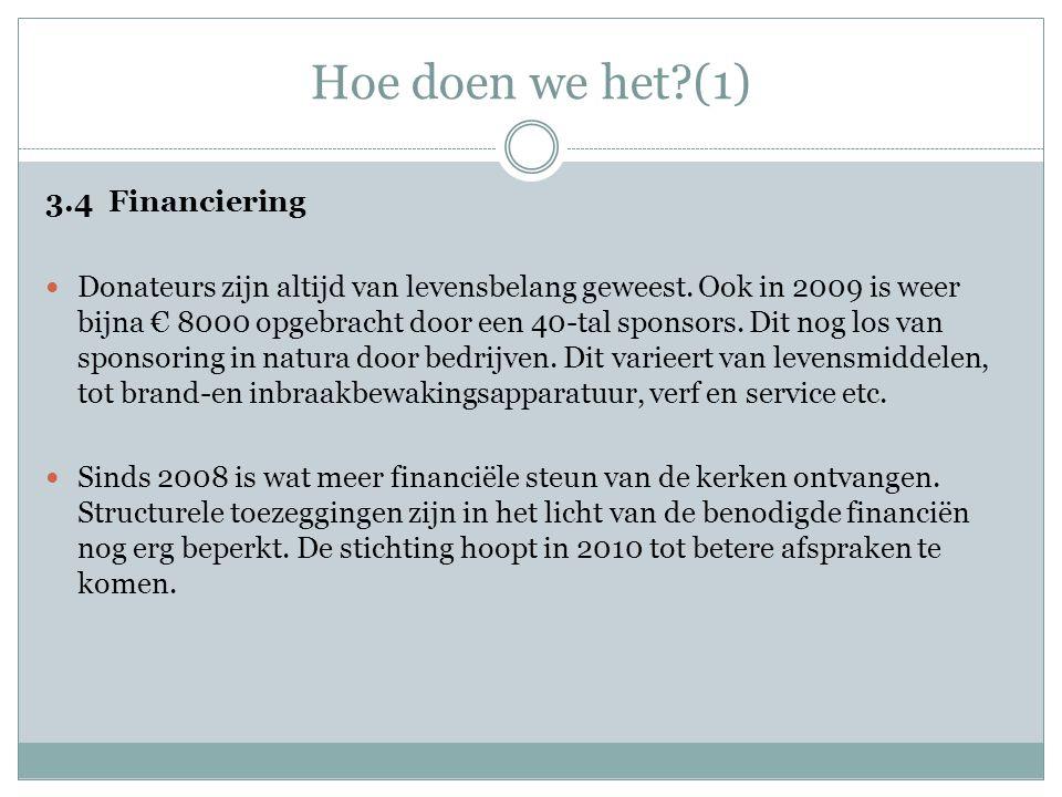 Hoe doen we het?(1) 3.4 Financiering  Donateurs zijn altijd van levensbelang geweest. Ook in 2009 is weer bijna € 8000 opgebracht door een 40-tal spo