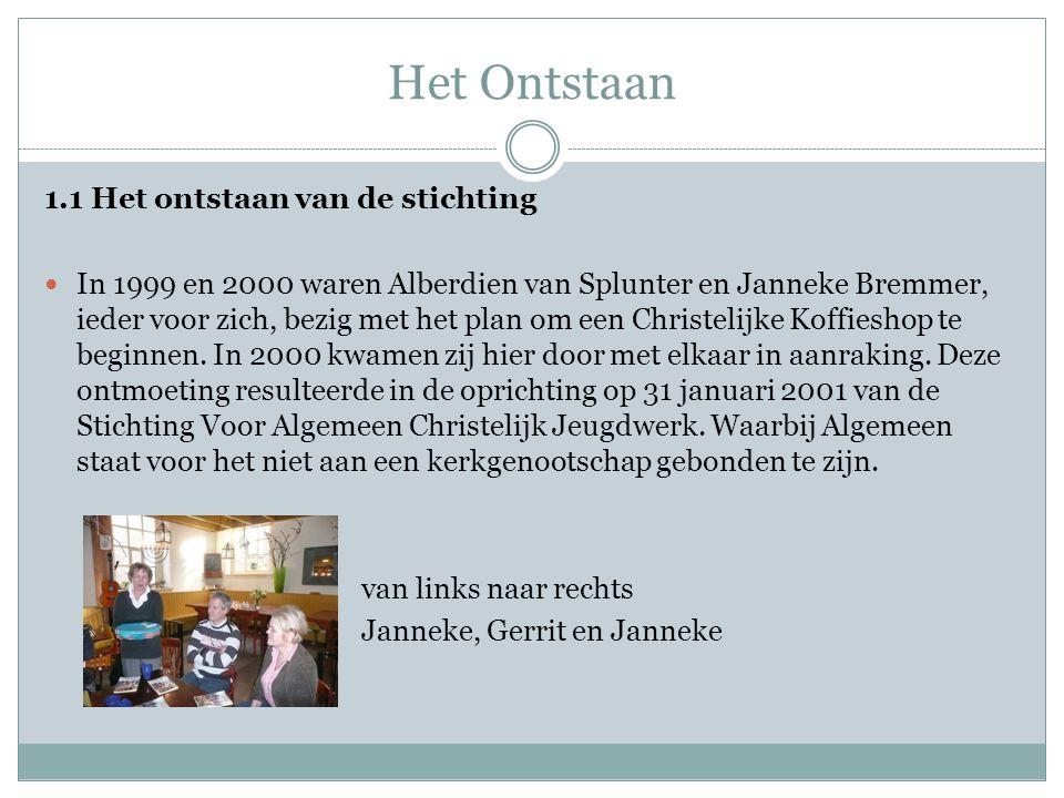 Het Ontstaan 1.1 Het ontstaan van de stichting  In 1999 en 2000 waren Alberdien van Splunter en Janneke Bremmer, ieder voor zich, bezig met het plan