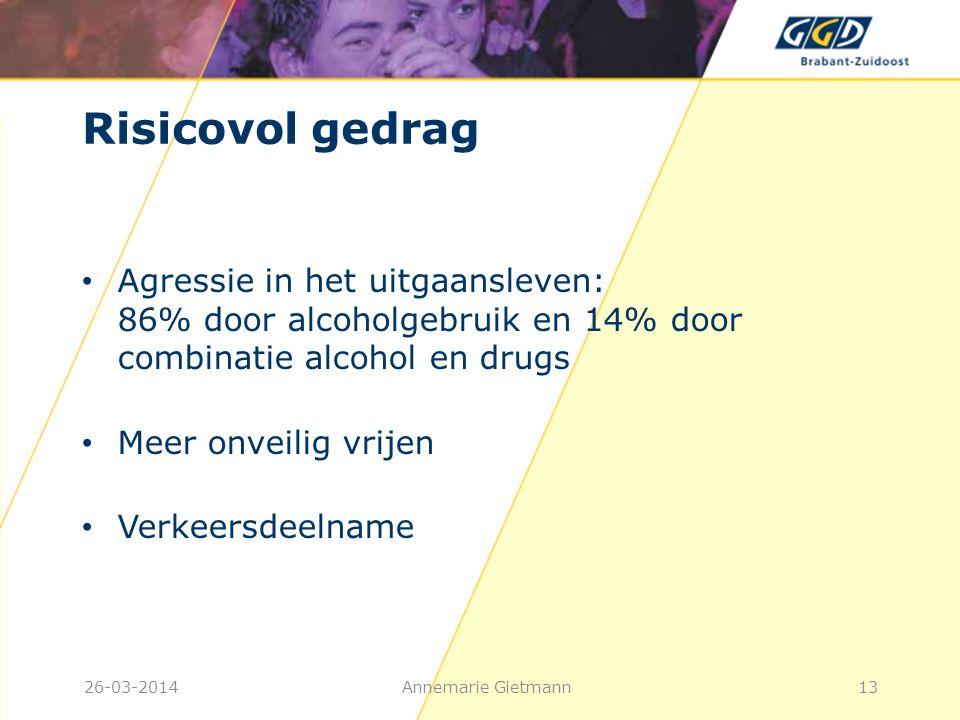 26-03-2014Annemarie Gietmann13 Risicovol gedrag • Agressie in het uitgaansleven: 86% door alcoholgebruik en 14% door combinatie alcohol en drugs • Mee