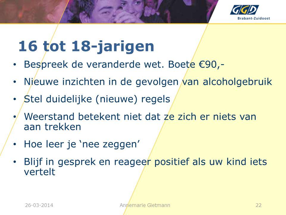 16 tot 18-jarigen • Bespreek de veranderde wet. Boete €90,- • Nieuwe inzichten in de gevolgen van alcoholgebruik • Stel duidelijke (nieuwe) regels • W