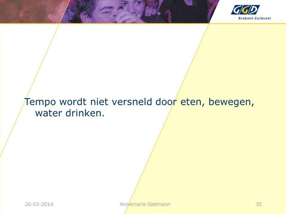 26-03-2014Annemarie Gietmann30 Tempo wordt niet versneld door eten, bewegen, water drinken.