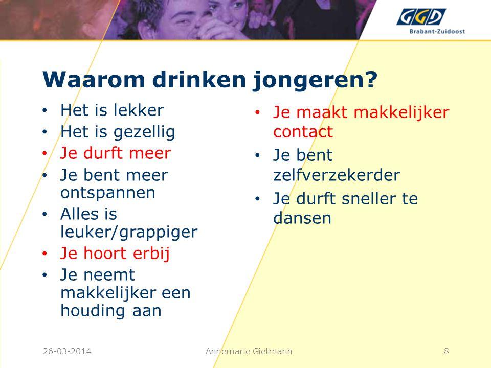 Wat zijn de risico's van alcohol drinken bij jongeren? 26-03-2014Annemarie Gietmann9