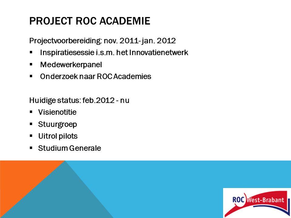 PROJECT ROC ACADEMIE Nieuwe situatie: vanaf mei 2012  Kwartiermaker  Klankbordgroep  Projectteam  Makelaarsfunctie  Aanhaken bij HRM incl.