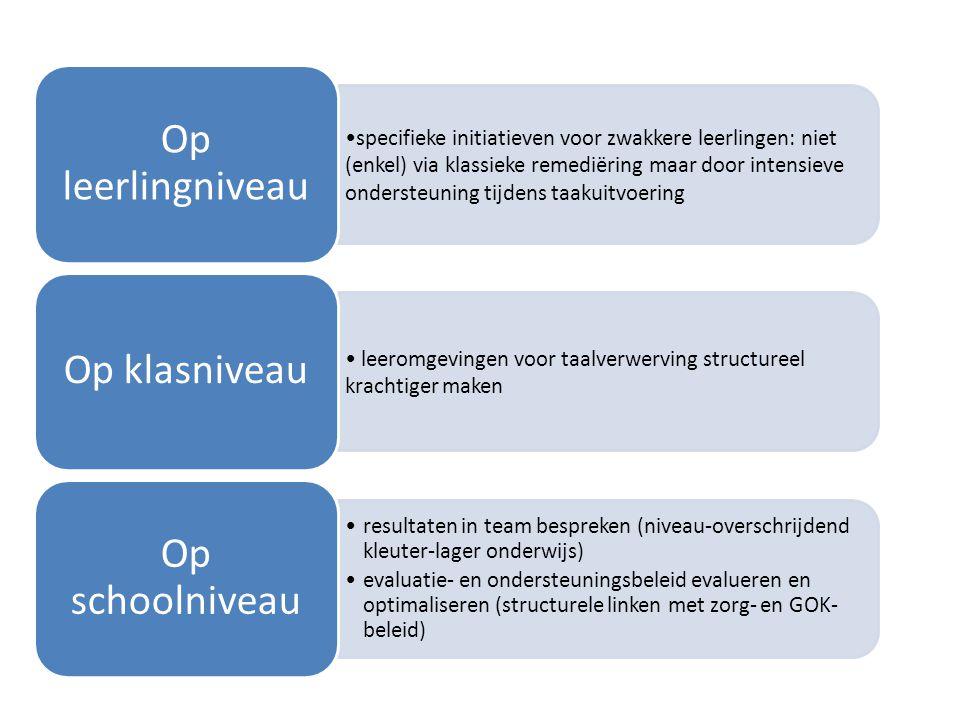 specifieke initiatieven voor zwakkere leerlingen: niet (enkel) via klassieke remediëring maar door intensieve ondersteuning tijdens taakuitvoering Op