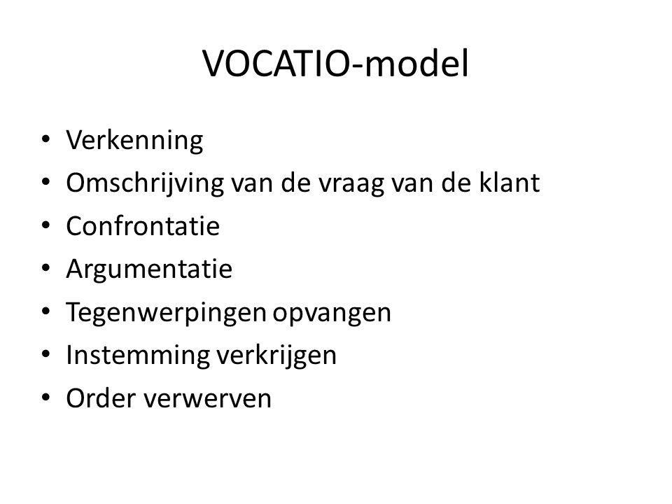 VOCATIO-model • Verkenning • Omschrijving van de vraag van de klant • Confrontatie • Argumentatie • Tegenwerpingen opvangen • Instemming verkrijgen •