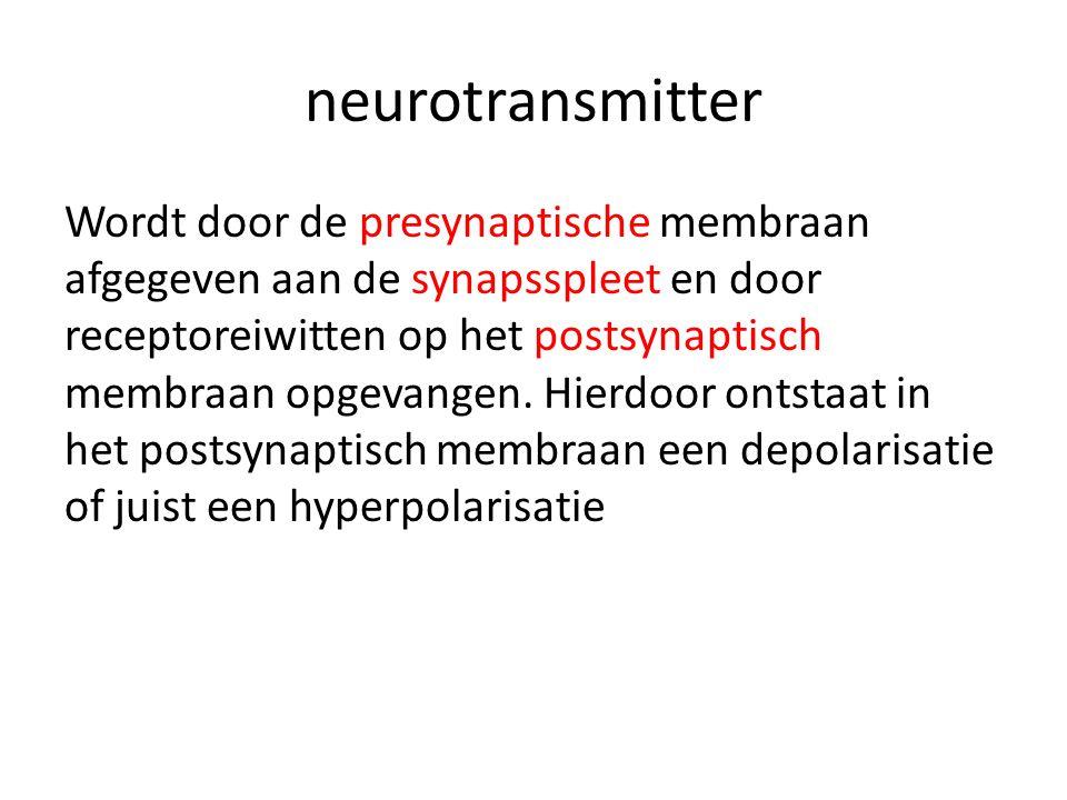 neurotransmitter Wordt door de presynaptische membraan afgegeven aan de synapsspleet en door receptoreiwitten op het postsynaptisch membraan opgevange