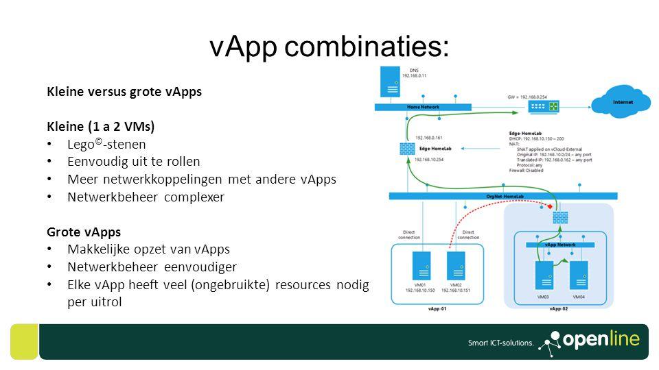 vApp combinaties: Kleine versus grote vApps Kleine (1 a 2 VMs) • Lego © -stenen • Eenvoudig uit te rollen • Meer netwerkkoppelingen met andere vApps •