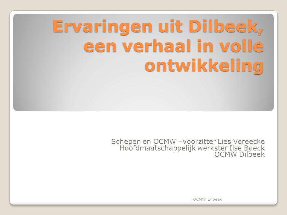 Ervaringen uit Dilbeek, een verhaal in volle ontwikkeling Schepen en OCMW –voorzitter Lies Vereecke Hoofdmaatschappelijk werkster Ilse Baeck OCMW Dilbeek
