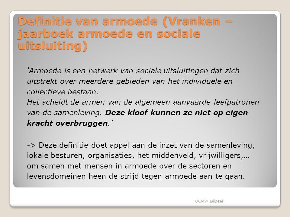 Definitie van armoede (Vranken – jaarboek armoede en sociale uitsluiting) ' Armoede is een netwerk van sociale uitsluitingen dat zich uitstrekt over meerdere gebieden van het individuele en collectieve bestaan.
